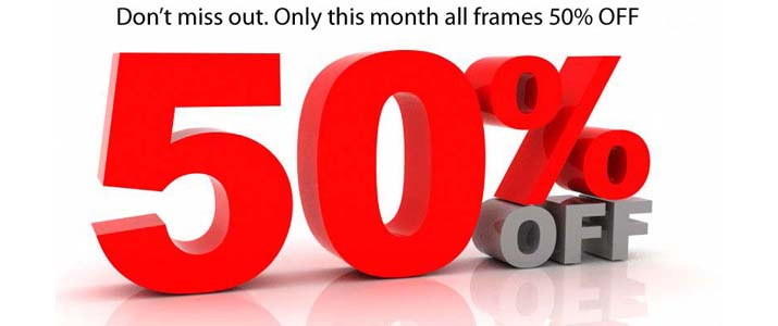 50% discount on frames here at future eyes